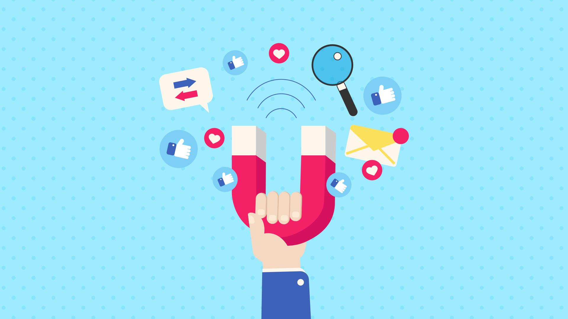 Mão segurando ímã, atraindo likes, mensagens e pesquisas, simbolizando Inbound Marketing