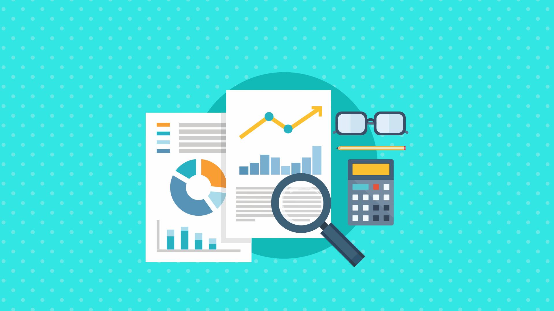Relatórios e lupa, com calculadora, óculos e lápis à direita.